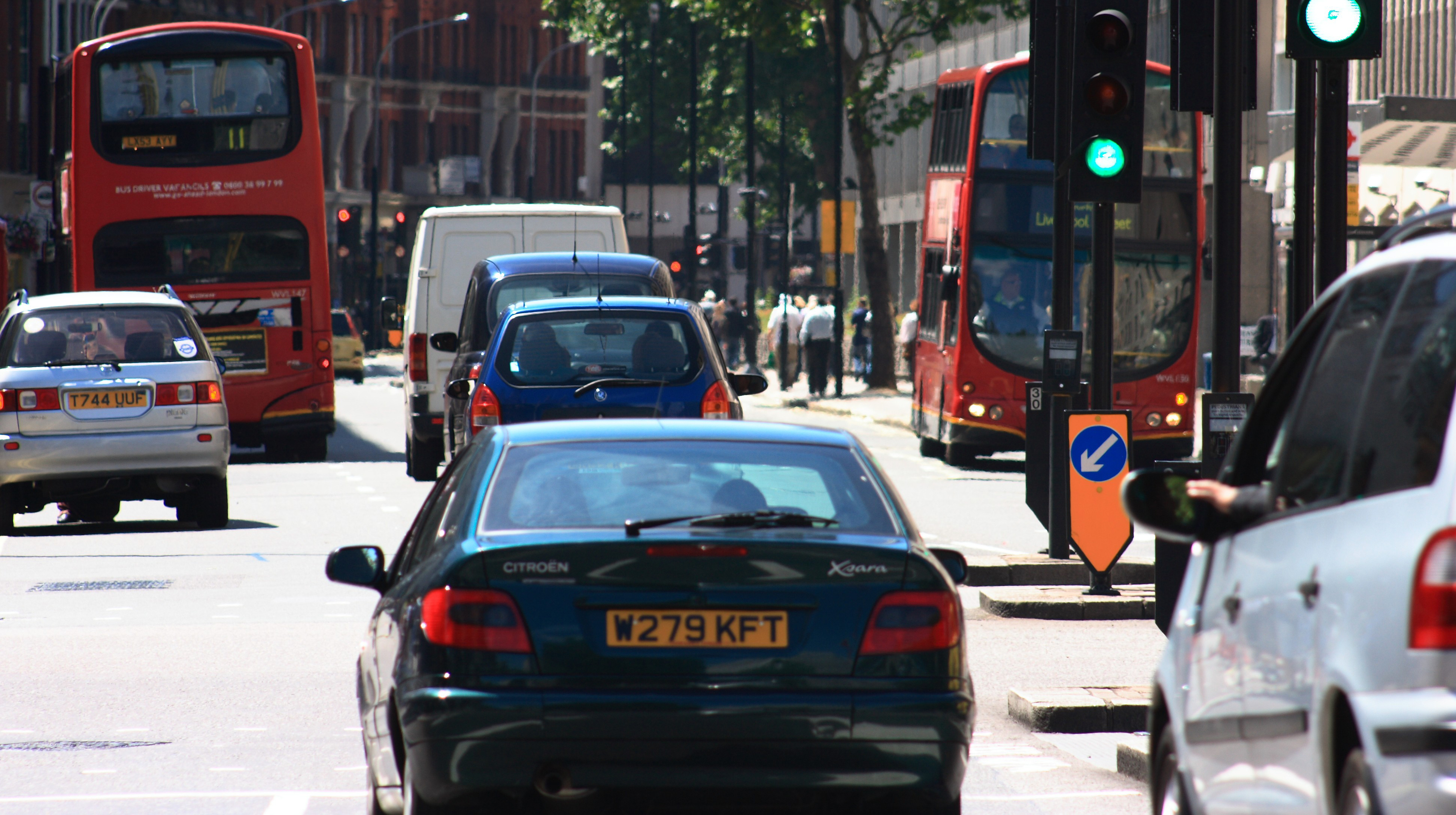 Congestion in London causes some bus routes to run at close to running speed.
