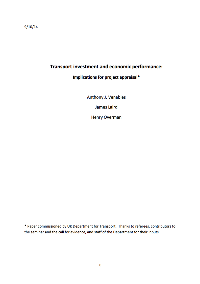 Transport investment and economic performance