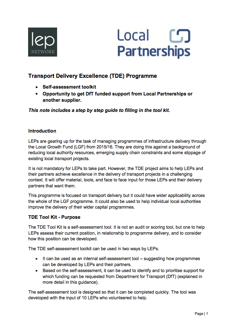 Transport delivery excellence guidance and toolkit