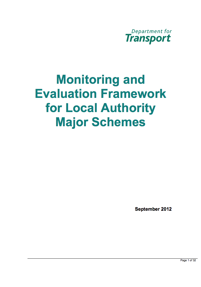 DfT Monitoring and Evaluation Framework for Local Authority Major Schemes