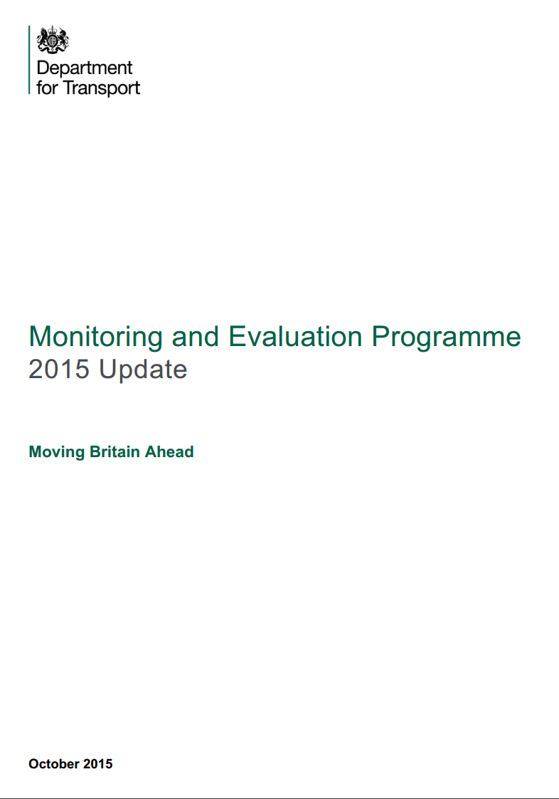 DfT (2015) – Monitoring and Evaluation Programme