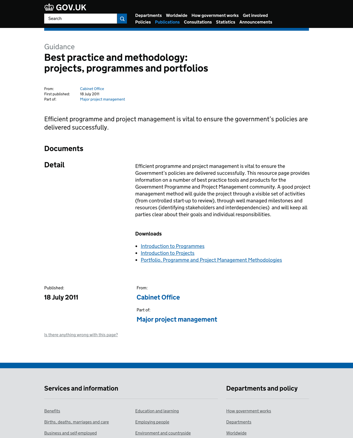 Best practice and methodology: projects, programmes and portfolios